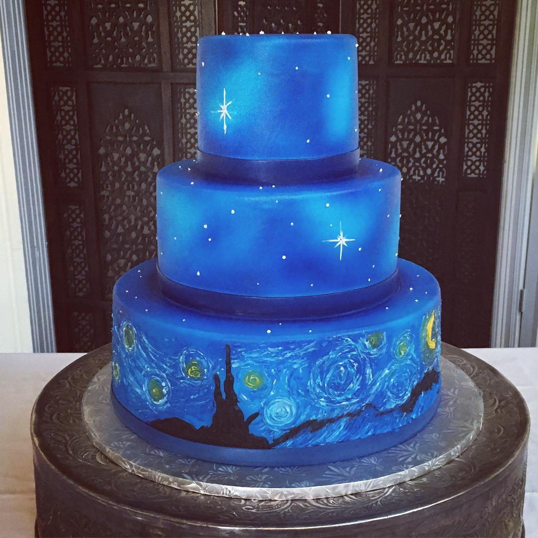 Starry Night! #starrynight #weddingcake #cakestagram ...